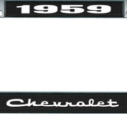 OER 1959 Chevrolet Style #2 Black and Chrome License Plate Frame with White Lettering LF2235902A