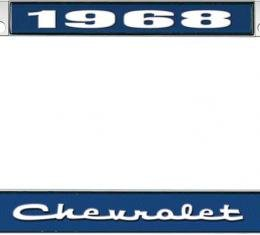 OER 1968 Chevrolet Style #2 - Blue and Chrome License Plate Frame with White Lettering *LF2236802B