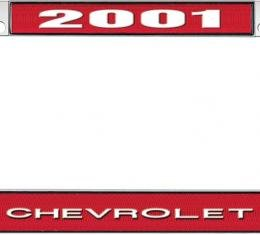 OER 2001 Chevrolet Style #1 - Red and Chrome License Plate Frame with White Lettering *LF2230101C