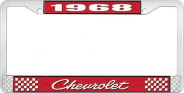 OER 1968 Chevrolet Style # 4 Red and Chrome License Plate Frame with White Lettering LF2236804C