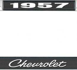 OER 1957 Chevrolet Style #4 Black and Chrome License Plate Frame with White Lettering LF2235704A