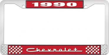 OER 1990 Chevrolet Style # 5 Red and Chrome License Plate Frame with White Lettering LF2239005C