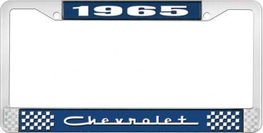 OER 1965 Chevrolet Style #5 Blue and Chrome License Plate Frame with White Lettering LF2236505B