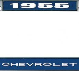 OER 1955 Chevrolet Style #1 Blue and Chrome License Plate Frame with White Lettering LF2235501B