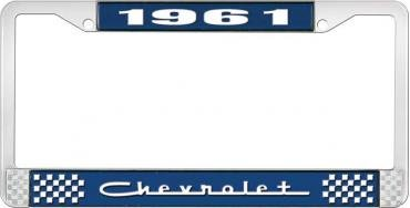 OER 1961 Chevrolet Style #5 - Blue and Chrome License Plate Frame with White Lettering *LF2236105B