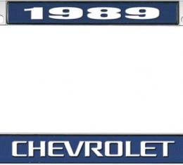 OER 1989 Chevrolet Style #3 Blue and Chrome License Plate Frame with White Lettering *LF2238903B