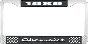 OER 1989 Chevrolet Style # Black and Chrome License Plate Frame with White Lettering LF2238902A