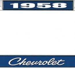 OER 1958 Chevrolet Style #4 Blue and Chrome License Plate Frame with White Lettering LF2235804B