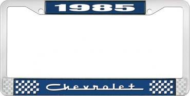 OER 1985 Chevrolet Style # 5 Blue and Chrome License Plate Frame with White Lettering LF2238505B