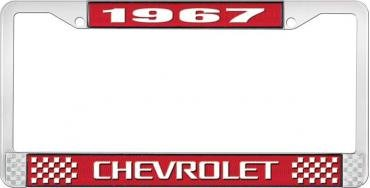 OER 1967 Chevrolet Style #3 Red and Chrome License Plate Frame with White Lettering LF2236703C