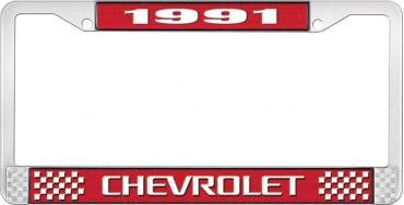 OER 1991 Chevrolet Style # 3 Red and Chrome License Plate Frame with White Lettering LF2239103C