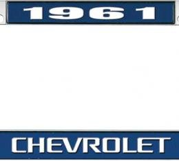 OER 1961 Chevrolet Style #3 - Blue and Chrome License Plate Frame with White Lettering *LF2236103B