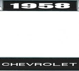 OER 1958 Chevrolet Style #1 Black and Chrome License Plate Frame with White Lettering LF2235801A