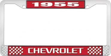 OER 1955 Chevrolet Style #3 Red and Chrome License Plate Frame with White Lettering LF2235503C