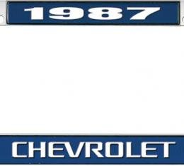 OER 1987 Chevrolet Style #3 Blue and Chrome License Plate Frame with White Lettering *LF2238703B