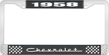 OER 1958 Chevrolet Style #5 - Black and Chrome License Plate Frame with White Lettering *LF2235805A