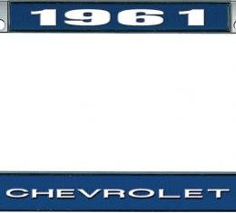 OER 1961 Chevrolet Style #1 Blue and Chrome License Plate Frame with White Lettering LF2236101B