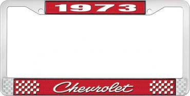 OER 1973 Chevrolet Style # 4 Red and Chrome License Plate Frame with White Lettering LF2237304C
