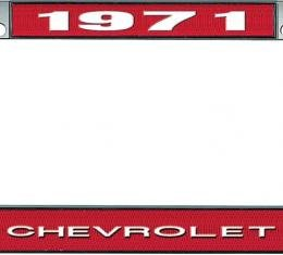 OER 1971 Chevrolet Style #1 - Red and Chrome License Plate Frame with White Lettering *LF2237101C