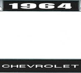 OER 1964 Chevrolet Style #1 - Black and Chrome License Plate Frame with White Lettering *LF2236401A