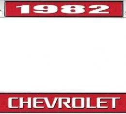 OER 1982 Chevrolet Style #3 - Red and Chrome License Plate Frame with White Lettering *LF2238203C