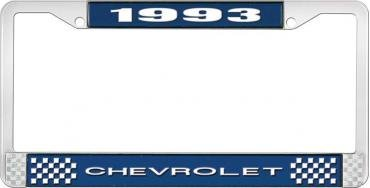 OER 1993 Chevrolet Style # 1 Blue and Chrome License Plate Frame with White Lettering LF2239301B