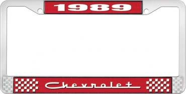 OER 1989 Chevrolet Style #5 - Red and Chrome License Plate Frame with White Lettering *LF2238905C