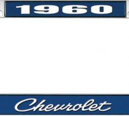 OER 1960 Chevrolet Style #4 Blue and Chrome License Plate Frame with White Lettering LF2236004B