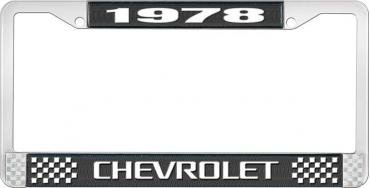 OER 1978 Chevrolet Style # 3 Black and Chrome License Plate Frame with White Lettering LF2237803A