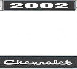 OER 2002 Chevrolet Style #2 - Black and Chrome License Plate Frame with White Lettering *LF2230202A