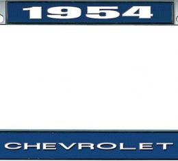 OER 1954 Chevrolet Style #1 - Blue and Chrome License Plate Frame with White Lettering *LF2235401B