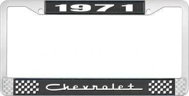 OER 1971 Chevrolet Style # 5 Black and Chrome License Plate Frame with White Lettering LF2237105A