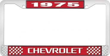 OER 1975 Chevrolet Style # 3 Red and Chrome License Plate Frame with White Lettering LF2237503C
