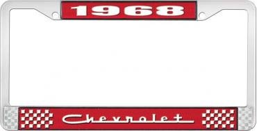 OER 1968 Chevrolet Style # 5 Red and Chrome License Plate Frame with White Lettering LF2236805C