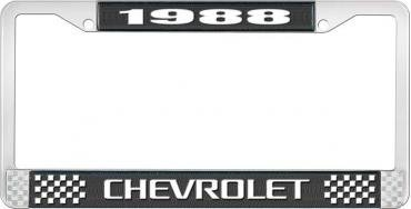 OER 1988 Chevrolet Style # 3 Black and Chrome License Plate Frame with White Lettering LF2238803A