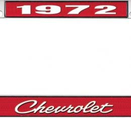 OER 1972 Chevrolet Style #4 - Red and Chrome License Plate Frame with White Lettering *LF2237204C
