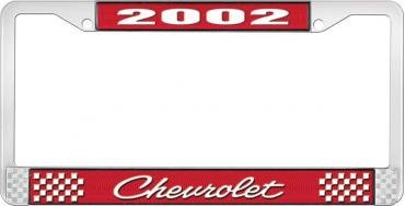 OER 2002 Chevrolet Style #4 Red and Chrome License Plate Frame with White Lettering LF2230204C