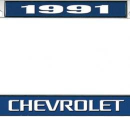OER 1991 Chevrolet Style #3 - Blue and Chrome License Plate Frame with White Lettering *LF2239103B