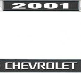 OER 2001 Chevrolet Style #3 - Black and Chrome License Plate Frame with White Lettering *LF2230103A