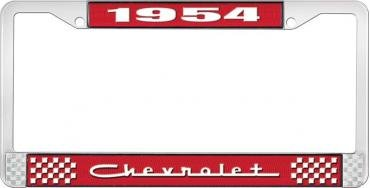OER 1954 Chevrolet Style #5 Red and Chrome License Plate Frame with White Lettering LF2235405C