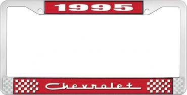 OER 1995 Chevrolet Style # 5 Red and Chrome License Plate Frame with White Lettering LF2239505C