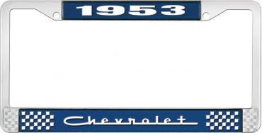 OER 1953 Chevrolet Style #5 Blue and Chrome License Plate Frame with White Lettering LF2235305B