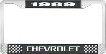 OER 1989 Chevrolet Style # 3 Black and Chrome License Plate Frame with White Lettering LF2238903A