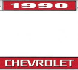 OER 1990 Chevrolet Style #3 - Red and Chrome License Plate Frame with White Lettering *LF2239003C