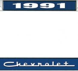 OER 1991 Chevrolet Style #5 - Blue and Chrome License Plate Frame with White Lettering *LF2239105B