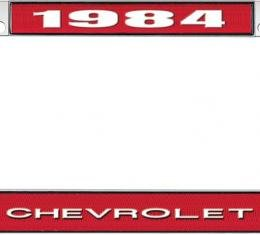 OER 1984 Chevrolet Style 1 - Red and Chrome License Plate Frame with White Lettering *LF2238401C