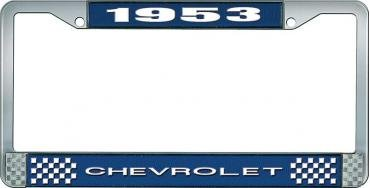 OER 1953 Chevrolet Style #1 Blue and Chrome License Plate Frame with White Lettering LF2235301B