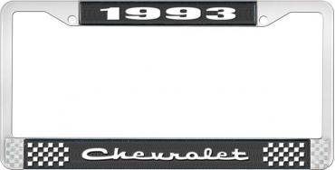 OER 1993 Chevrolet Style # 2 Black and Chrome License Plate Frame with White Lettering LF2239302A