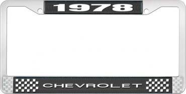 OER 1978 Chevrolet Style #1 - Black and Chrome License Plate Frame with White Lettering *LF2237801A