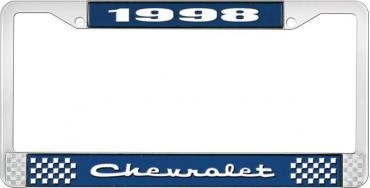 OER 1998 Chevrolet Style # 2 Blue and Chrome License Plate Frame with White Lettering LF2239802B